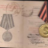 Brevet + medalia Victoria al 2 razboi, subofiter roman - Ordin/ Decoratie
