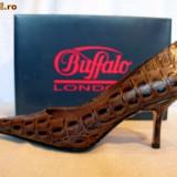 "Pantofi dama Buffalo, Piele naturala - Pantofi ""croco"" piele (781-62 CROCO BROWN) Buffalo"