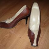 Pantofi maro cu bej, din piele naturala, toc inalt, nr. 38 - Pantofi dama, Marime: 36.5, Coffee