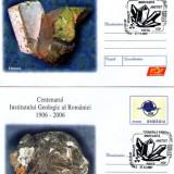 """2 întreguri poştale """"Centenar Institutul Geologic Român"""" minerale - Fosila roca"""