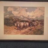 Tapiterie Goblen - Goblen Car cu boi de Grigorescu inramat