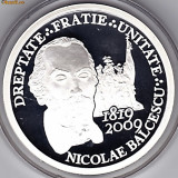 Monede Romania - BNR 10 lei 2009, Nicolae Balcescu, jubiliara, cu insemne masonerie, argint 31, 1 grame