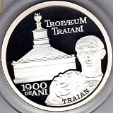 Monede Romania - BNR 10 lei 2009, imparatul Traian si monumentul Adamclisi Constanta, Tropaeum Traiani, argint pur .999 31, 1 grame