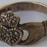 Inel vechi din argint cu marcasite