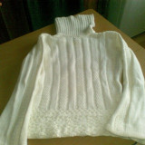 helanca pulover pe gat dama femei fete pt iarna marimea 42 L alba crosetata