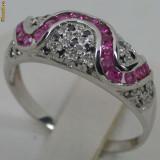 Inel aur alb 14K safire naturale roz si diamante negre 1.35CT, 2.61gr ieftin, 46 - 56