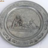 Farfurie din zinc marcat cu scena de vinatoare - Metal/Fonta