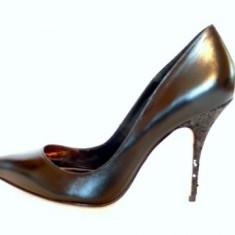 Pantofi dama Buffalo, Piele naturala - ULTRAELEGANTI - Pantofi negri toc fin(11329-518 GLITTER BLACK)BUFFALO