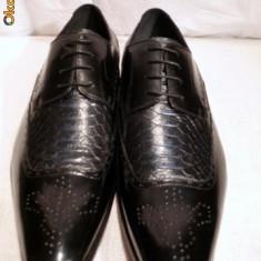 Pantofi eleganti pentru barbati, negri, italieni - NINO-FERREDIMANI - Pantofi barbati, Marime: 41, 43, Culoare: Negru, Piele naturala