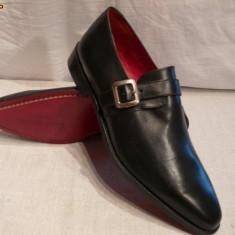 Pantofi barbati, cu catarama, Lord Byron, piele integral (A7-13 BLACK), Piele naturala