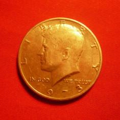 1/2 Dolar 1973 SUA, cal.F.Buna, metal alb, d=3cm.