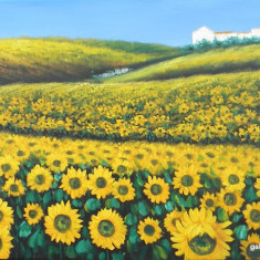 Tablou 90x60cm ulei/panza - Lan de floarea soarelui -