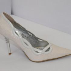 Pantofi albi, ideal pentru mireasa - (Belle Woman 5837-2A white) REDUCERE EXCEPTIONALA DE PRET - Pantofi dama, Marime: 36, 38, 40, 35, 41