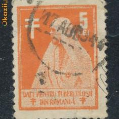 Timbre Romania - RFL 1944 timbru pentru tuberculosi Regina Maria 5 lei circulat postal