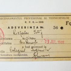 ADEVERINTA RECENSAMANT ROMANIA RPR 1948 ** - Hartie cu Antet