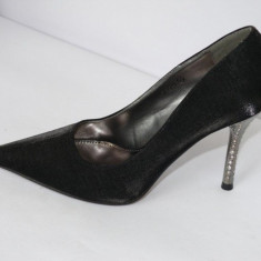 Pantofi dama - Pantofi de gala pentru femei, negri, saten - (CHIARA 759-1 black)