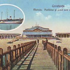 Romania, Constanta, carte postala necirculata apr.1918: Mamaia, Pavilionul, podul, Fotografie