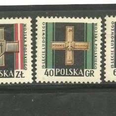 Timbre straine, Europa, Militar - Polonia 1958 - DECORATII MILITARE, serie nestampilata B216