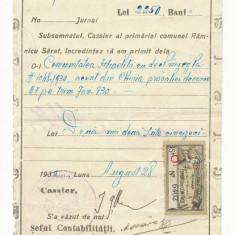 RFL ROMANIA 1930 timbru fiscal local Ramnicu Sarat jud Buzau document evreiesc