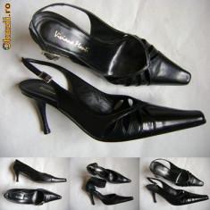 Pantofi/sandale dama, piele noi, marca Viviana Monti, Italia, nr 37, 40, Culoare: Negru