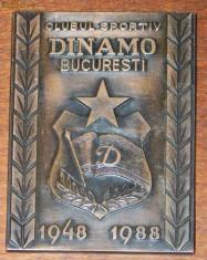 Insigna fotbal - PLACHETA ANIVERSARA BRONZ CLUBUL SPORTIV DINAMO BUCURESTI 1948-1988. EMBLEMA