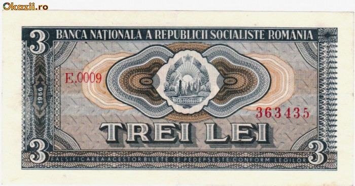* Bancnota 3 lei 1966 foto mare
