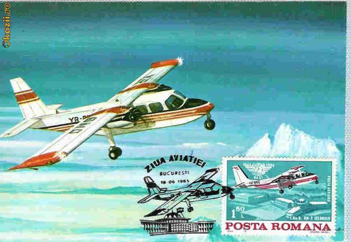 Ilustrata maxima aviatie - avion BN2, Ziua Aviatiei 1985 foto mare