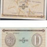 Bnk bn cuba 5 pesos exchange certificate seria D, xf