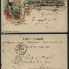 Litografie, Gruss aus Zug, circulata la Bucuresti, 1901, Europa, Printata