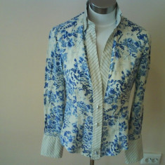 Camasa dama din bumbac cu flori albastre STEFANEL, S, superba!!!!! - Camasa barbati
