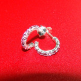 Cercei din argint 925 in forma de veriga - semicerc cu pietre cristale roz, model deosebit de finut, sistem de prindere tip surub - Cercei argint