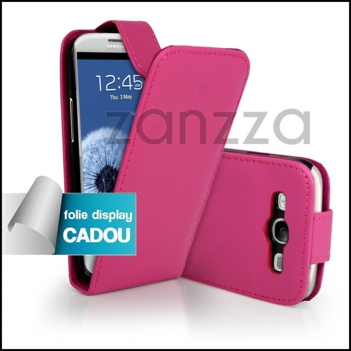 Husa / Toc Flip Samsung Galaxy S3 III i9300 piele ECO roz + Folie protectie display GRATIS foto mare