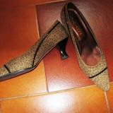 Pantofi piele print leopard, masura 36, 5 -37 - Pantof dama