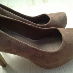 Pantofi dama Asos, Marime: 38, Cappuccino - Pantofi din piele cappucino bej, stil elegant cu platforma