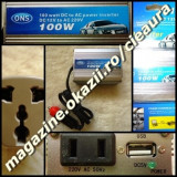 INVERTOR / CONVERTOR / TRANSFORMATOR 100 W de la 12 V DC la 220 V AC REALI 100 W pentru AUTO / MASINA sau INCARCATOR / PANOU SOLAR DESIGN in SUA