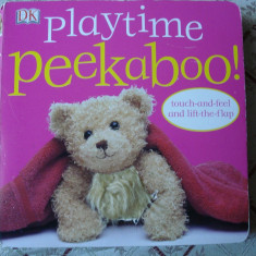 Carte educativa copii cartonata Playtime Peekaboo touch and feel atinge si simte lift the flap story ilustrata - Carte personalizata