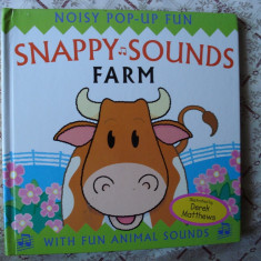 Carte educativa copii cartonata lucioasa pop-up book sunete de animale ferma Snappy Sounds Farm story ilustrata - Carte personalizata