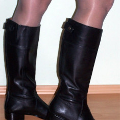 NOI, DE FIRMA _ Cizme dama, lungi, din piele, negre, CORSO COMO _ femei | nr. 40, Piele naturala