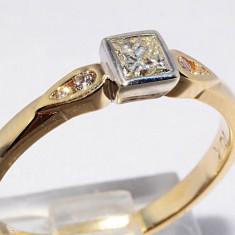 Superb inel aur galben si alb 10K cu diamante naturale 0.28CT, VS1, foarte ieftin, 9K, 46 - 56