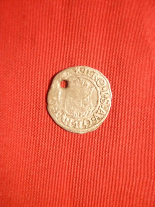 Denar Ungaria 1577, argint , gaurit ,d= 1,5 cm foto mare