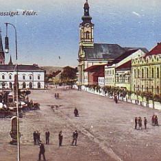 Romania, Sighetu Marmatiei, carte postala 1918, circulata 1940: Centru, animat - Carte Postala Maramures 1904-1918, Fotografie