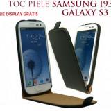 Husa Eleganta TOC PIELE FLIP NEGRU Samsung Galaxy S3 i9300 + Folie Protectie Display GRATIS - Husa Telefon Samsung, Piele Ecologica, Cu clapeta