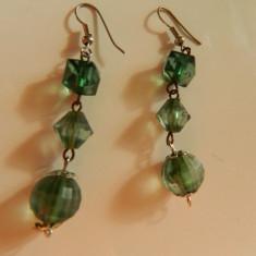 Cercei de dama, lungi, piatra verde, LICHIDARE DE STOC - Cercei inox