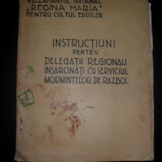 Instructiuni pentru delegatii regionali insarcinati cu serviciul mormintelor de razboi