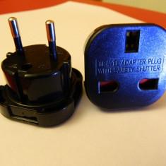 Adaptor laptop Alta - Adaptor priza UK-Europa / UK-EU Travel Adapter / Travel Adapter plug with safety shutter