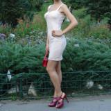 Rochita de ocazie, roz pal, se muleaza perfect pe corp, dantela elastica, masura s. - Rochie cocktail, Marime: S, Marime: 36, Mini, Cu bretele