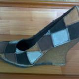 Pantofi platforma - Pantof dama, Marime: 37, Culoare: Multicolor, Multicolor