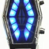 Ceas de mana-Sauron cu led-uri rosii si albastre, unisex, binar, ecran oglinda, curea metalica. Nou - Ceas led