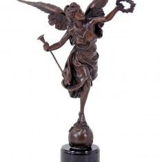 VICTORIA - STATUETA DIN BRONZ PE SOCLU DIN MARMURA - sculptura reproducere, Istorice