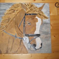 Tablou pictat manual pe panza in culori acrilice profesionale( Cal), Animale, Altul